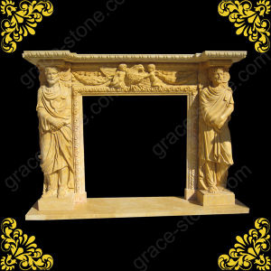 Hand Carved Natural Stone Fireplace Mantel pictures & photos
