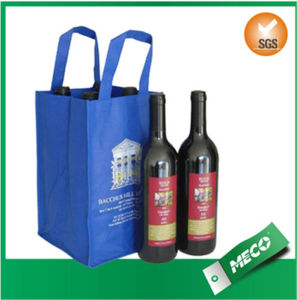 Laminated Non Woven Wine Bag with Logo (MECO495) pictures & photos