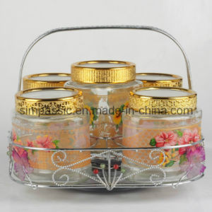 5PCS Storage Jar Sets with Gold Coated Bracket (SG1541SJ) pictures & photos
