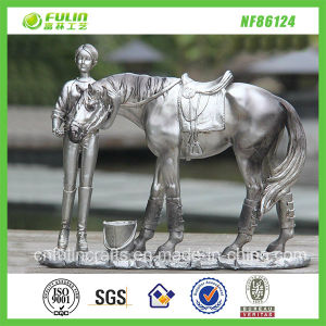Resin Electroplate Standing Woman and Horse Ornament (NF86124)