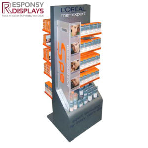 Floor Shopping Center Tiered Cosmetics Display Shelf Header and Silk Screen pictures & photos