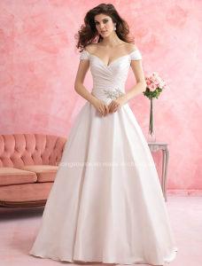 Sexy White Satin Spaghetti Strap Wedding Bridal Dress pictures & photos