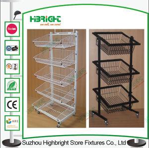 4 Layer Floor Standing Wire Basket Display Rack pictures & photos