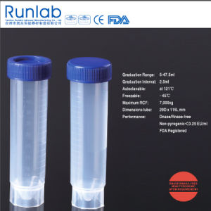 FDA and Ce Approved 50ml Free-Standing Centrifuge Tube with Molded Graduation in Peel Bag Pack pictures & photos