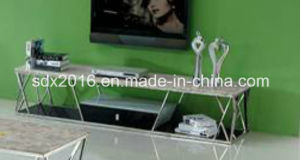 Modern TV Table Design Living Room Furniture TV Stand with Glass Top Dg005 pictures & photos