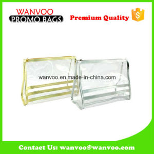 PVC Transparent Gold Cosmetic Bag for Lady Travel pictures & photos