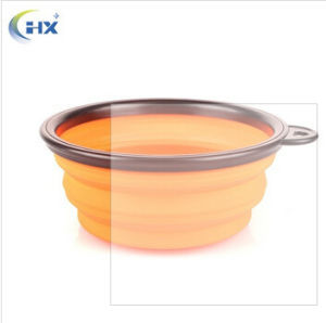 Promotional Stocked Custom Private Label Colorful Collapsible Food Grade Orange Silicone Pet Bowl for Travel /Camping