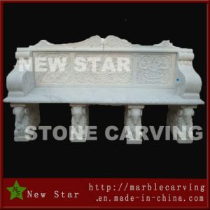 White Marble Four Legs Long Bench for Garden Decoration pictures & photos