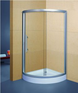 Curved Tempered Glass Bath Shower Cabin with Acrylic Tray