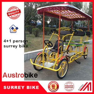 Outdoor 4 Person Quadricycle Bike with Baby Seat with Roof pictures & photos