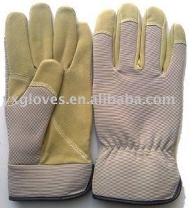 Work Glove-Labor Glove-Safety Glove-Garden Glove-Leather Glove-Grey &Beige Glove pictures & photos