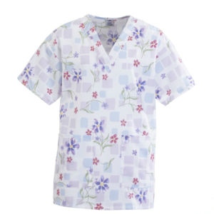 Ly Fashionable Flower Prints Nurse Scurb Uniform pictures & photos