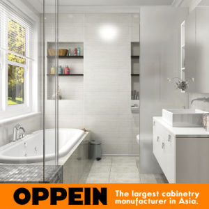 Modern High Gloss White Lacquer Bathroom Vanity Cabinet (OP16-Villa01BV2) pictures & photos