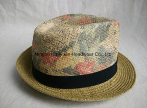 Printed Beach Style Fedora Straw Hat pictures & photos
