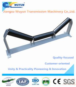 35 Degree Trough Idler with Frame, Steel Conveyor Belt Idler Roller pictures & photos