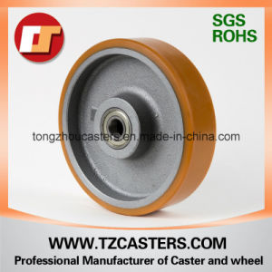 Fixed Caster Heavy Duty PU Wheel with Cast Iron Center 200*50 pictures & photos