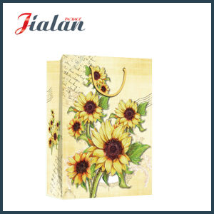 Glossy Laminated Coated Paper Sunflowers Cheap Shopping Gift Paper Bag pictures & photos