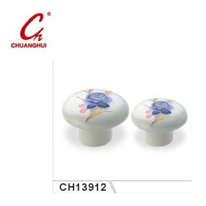 Style Ceramic Knob Handles with Flower Pattern (CH13912) pictures & photos