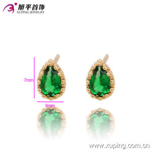 90627 Latest Fashion Gold-Plated Delicate Zircon Jewelry Earring Studs with Heart-Shaped Crystal pictures & photos