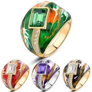 New Item Black Enamel Rhinstone Crystal Gold Statement Ring pictures & photos