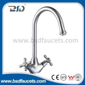 Double Handle Deck Mounted Hot&Cold Sink Mixer pictures & photos