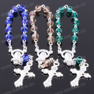 Fashion Jewelry Mixed Colour 6mm Section Crystal Silver Religious Bracelet pictures & photos