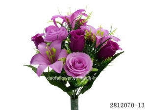 Artificial/Plastic/Silk Flower Rose, Rosebud, Lily Bush (2812070-13) pictures & photos
