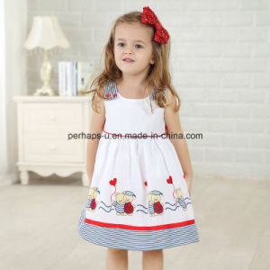 High Quality Lovely Printing Sleeveless Little Girls Flower Dress pictures & photos