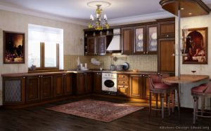 Golden Brown Kitchen Cabinet (GB13) pictures & photos