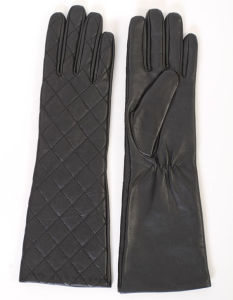 Lady Fashion Checked Sheepskin Leather Long Dress Warm Gloves (YKY5172) pictures & photos
