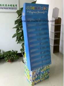 Cardboard Floor Free Standing Display with PVC Boxes for Stickers pictures & photos