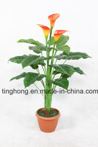 Home Decoration Artificial Plant with 15 Leaves and 3 Flowers