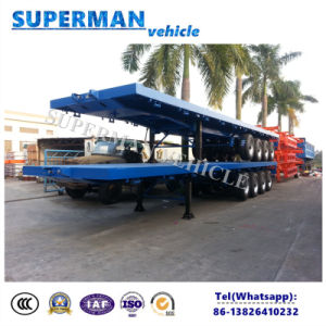 Utility Container Flatbed Semi Truck Trailer 4 Axle for Heavy Cargo pictures & photos