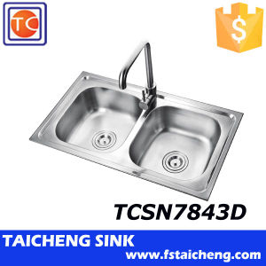 780x430mm Dubai Double Bowl Topmount Kitchen Sink Prices