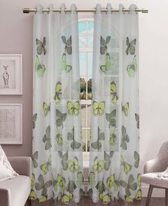 Printed Voile Grommet Panel Window Curtain (HR14WT055) pictures & photos