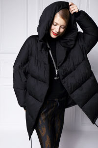 Cool Black Long Lady Down Jacket with High Duck Down Cotton pictures & photos