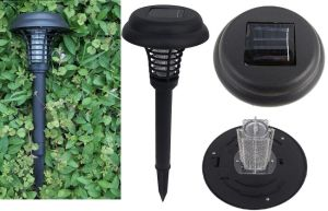 Outdoor Lawn Lamp Solar 2 LED UV Bug Zapper Mosquito Killer pictures & photos