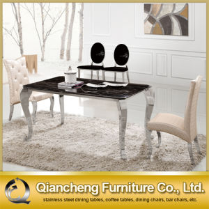 Italian Modern 6 Seaters Stainless Steel Legs Marble Dining Table pictures & photos