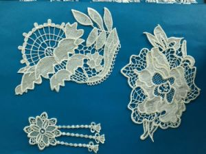 White Nylon Lace Embroidery Fabric Lace Motif for Ladies Suits