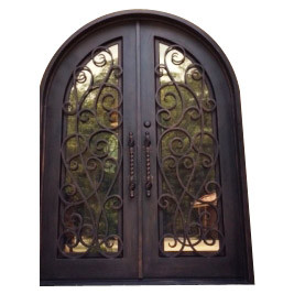 Hot Sale Round Top Double Entry Wrought Iron Door pictures & photos