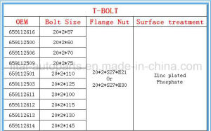 Volvo Rear T Bolt with High Quality Grade 10.9 pictures & photos