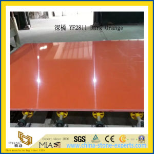 Polished Dark Orange Artificial Quartz Slabs for Kitchen Countertops (YQC) pictures & photos