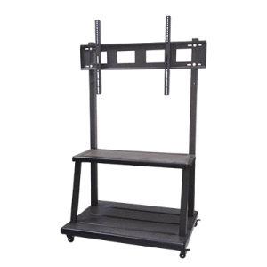 black metal portable height adjustable large mobile av cart media corner tv stands and rolling tv