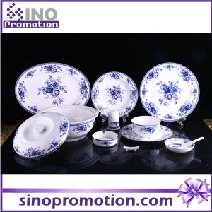 Round Porcelain Dinner Set with Flower Pattern Porcelain Set