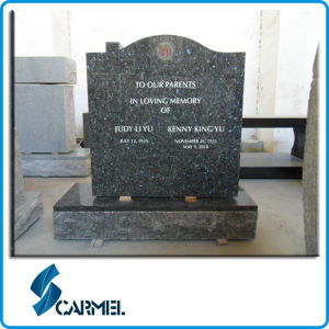 Natural Blue Granite American Style Tombstone