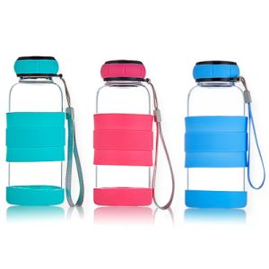 300ml Borosilicate Glass Water Bottle Silicone Cover