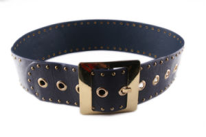 New Fashion PU Belt with Bronze Rivets for Women
