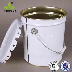 Custom Painted Metal Pail Chemical Containers 20L with Curly /Flower Edge Lid pictures & photos