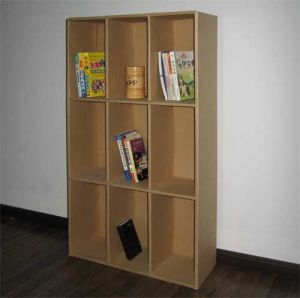 Original Corrugated Paper Book Shelf Stands, 9 Cells Brochures Display Rack pictures & photos
