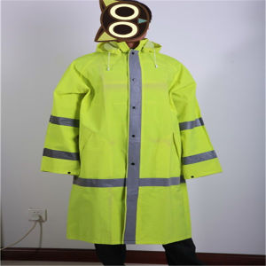 Fluorescence Green PVC/Polyester/PVC Raincoat with Reflective Tape pictures & photos